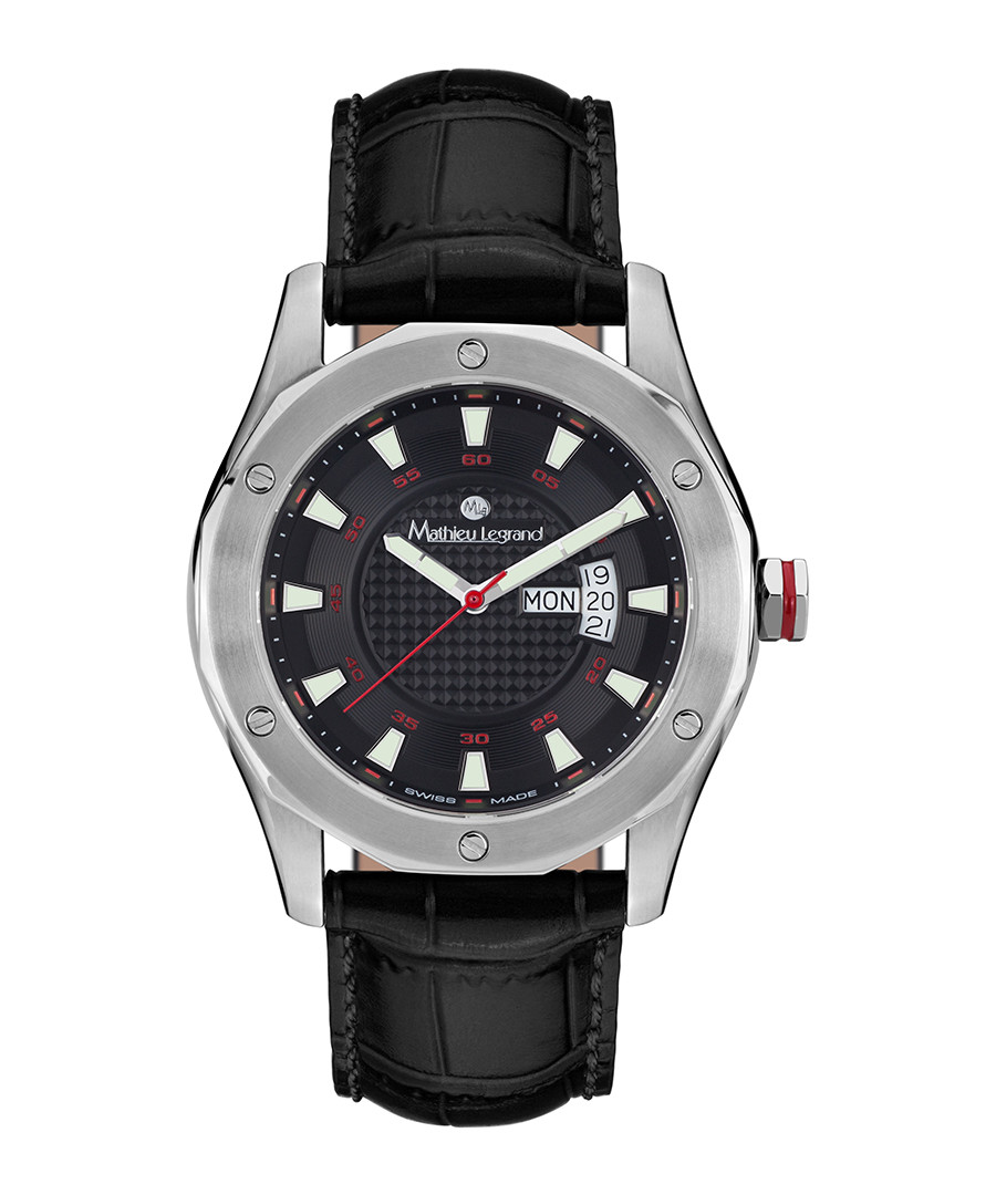 Dodécagone black leather & steel watch Sale - mathieu legrand