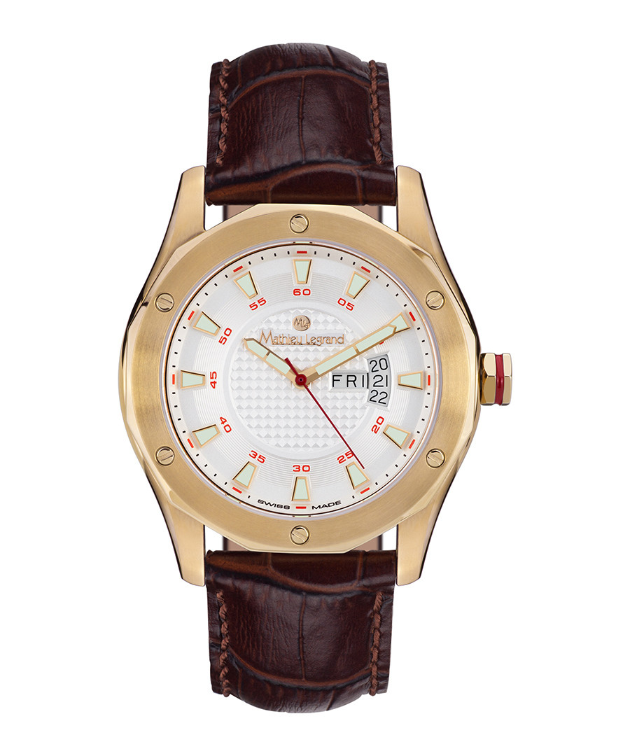 Dodécagone brown leather & steel watch Sale - mathieu legrand