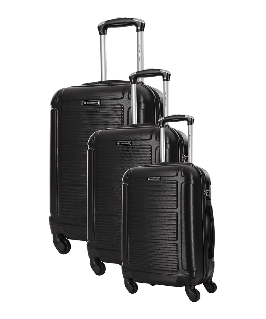 3pc Basildon black suitcase nest set Sale - platinium