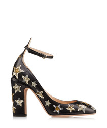 Rockstud black leather star Mary Janes