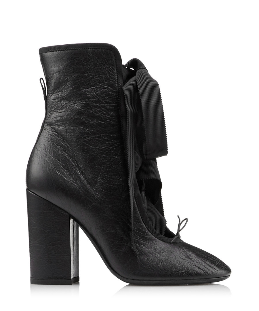 Women's Rockstud black leather tie boots Sale - valentino