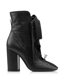 Women's Rockstud black leather tie boots