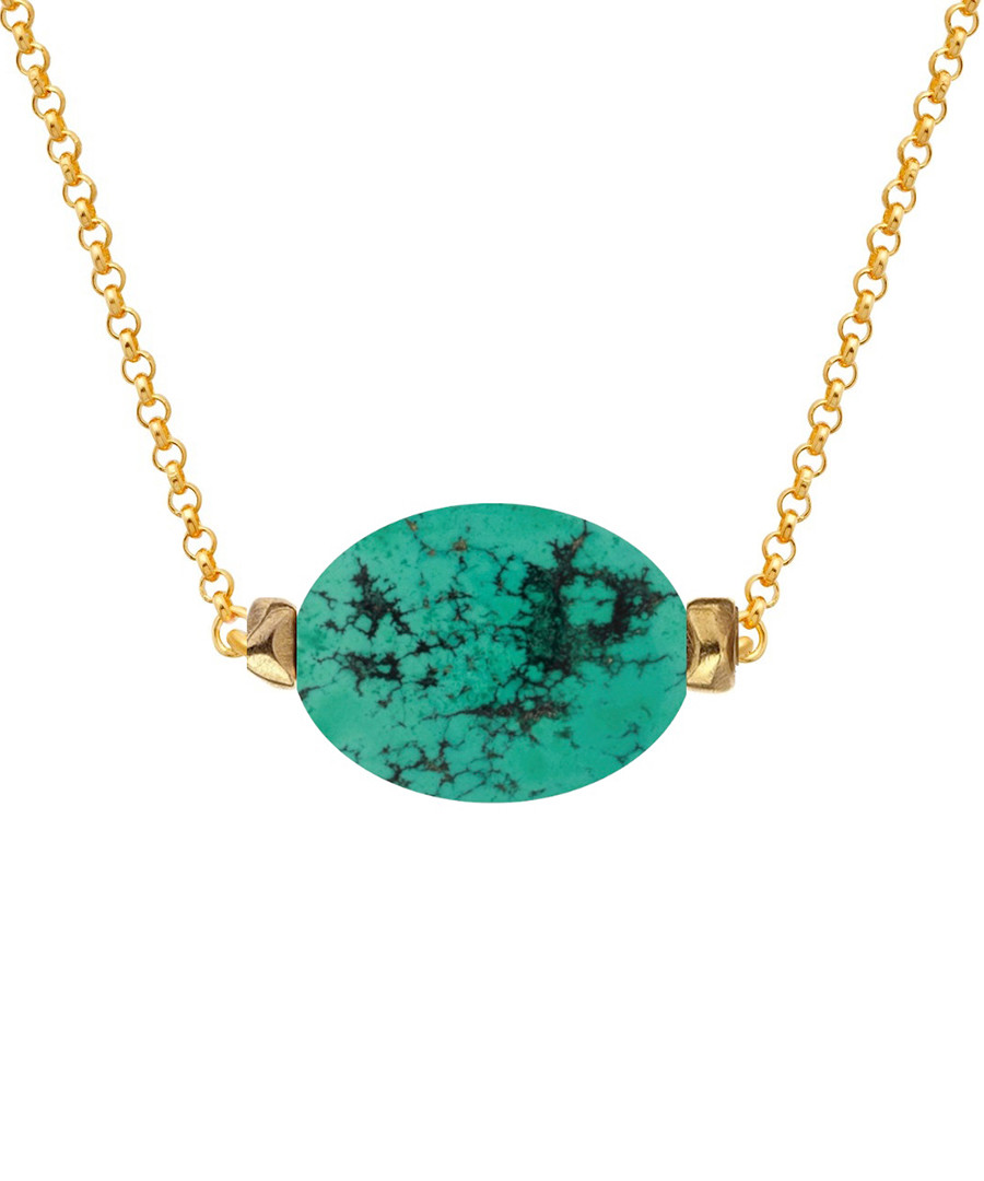 18k gold-plated turquoise necklace Sale - liv oliver