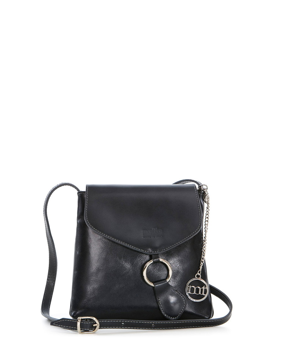 Black leather messenger bag Sale - mia tomazzi