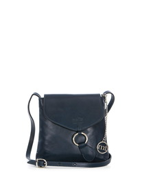 Navy & silver-tone leather crossbody
