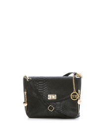 Black leather snake-effect cross body