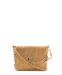 Brown leather snake-effect cross body
