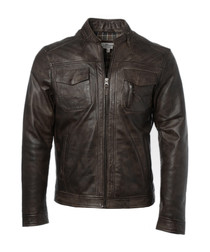 Timber brown leather zip jacket