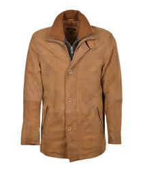 Cognac lambskin leather jacket