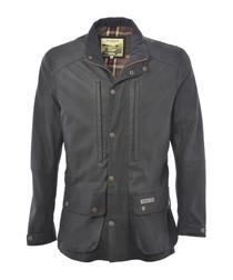 Black lambskin leather collared jacket