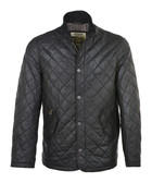 Black lambskin leather quilted jacket