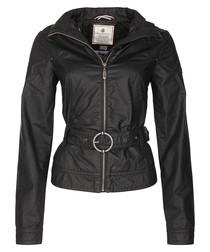 Black pure cotton belted jacket