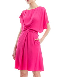 Fuchsia cotton blend drape dress