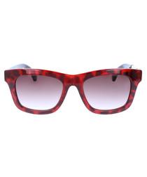 Red & black leopard D-frame sunglasses