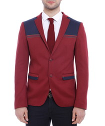 Red & navy cotton blend slim fit blazer