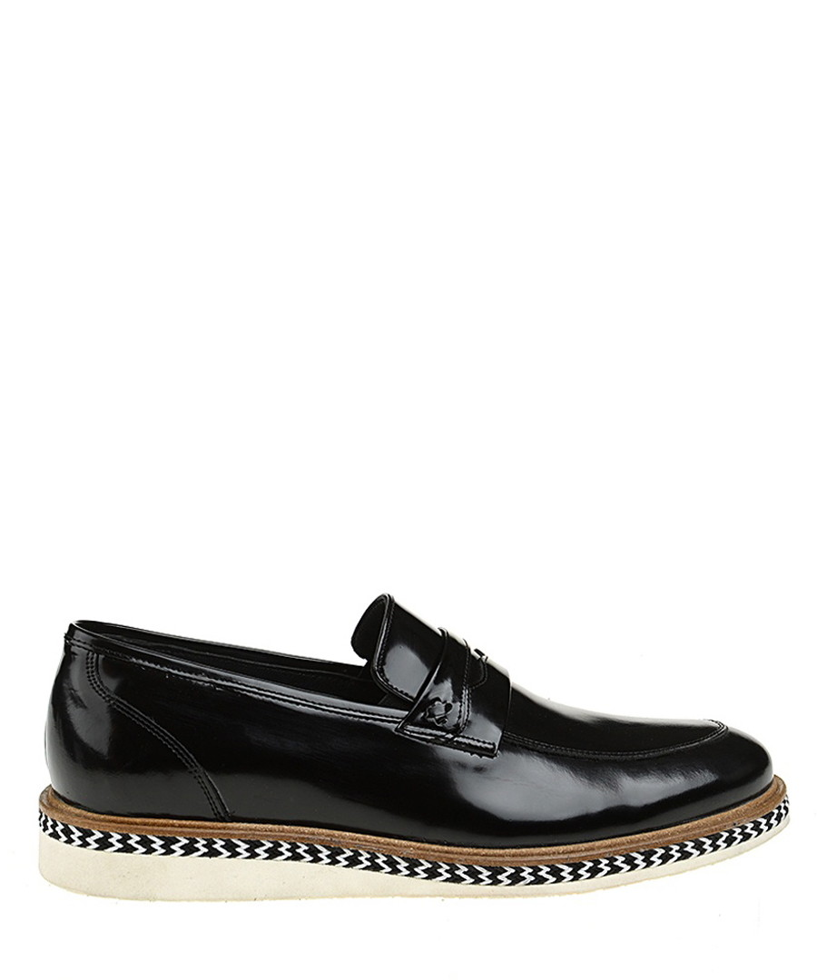 Black patent leather zig zag loafers Sale - Baqietto