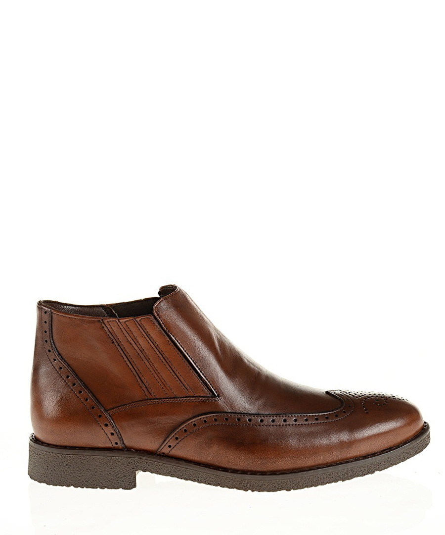 Brown leather perforated boots  Sale - Baqietto