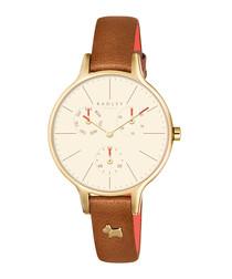 Wimbledon tan leather & steel watch