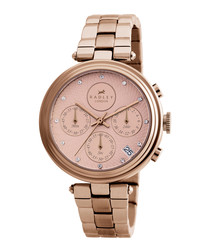 Rose gold-tone steel chronograph watch