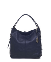 Inky blue leather slouch shoulder bag