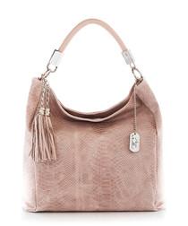 Pink leather snake-effect tassel bag