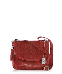 Red leather snake-effect crossbody