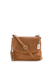 Brown leather snake-effect crossbody