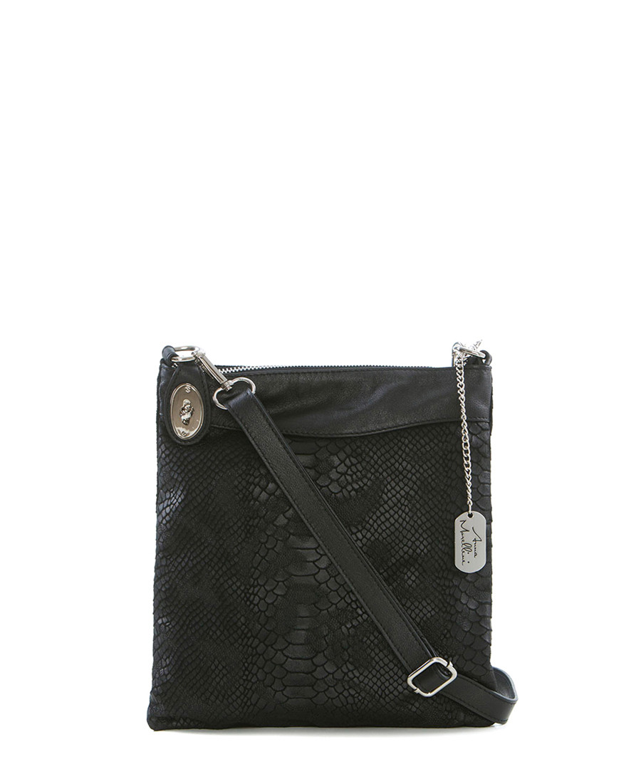 Black snake-effect leather messenger Sale - Anna Morellini