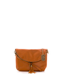Tan leather & goldtone foldover bag