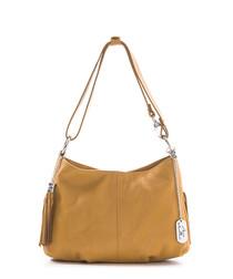 Tan leather tassel shoulder bag