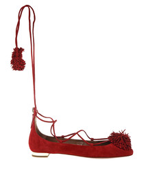 Sunshine red suede pompom flats