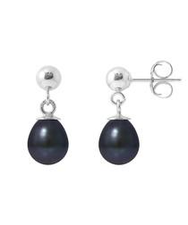 0.6cm black pearl ball drop earrings
