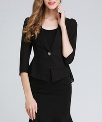 Black ruffle detail blazer