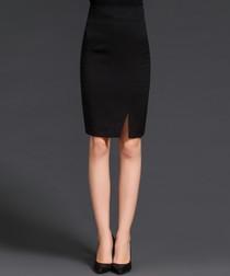 Black slit detail pencil skirt