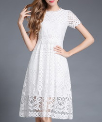 White lace detail overlay dress