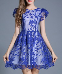 Blue floral lace overlay dress