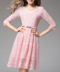 Pink lace belted knee-length dress