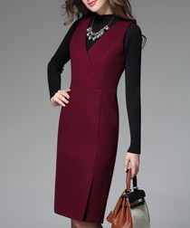 Wine wool blend V-neck midi dress
