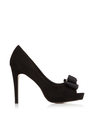 6b4338aef368 Charlie black bow peep toe heels Sale - Miss KG Sale
