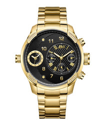 G3 18ct gold-plated & black watch