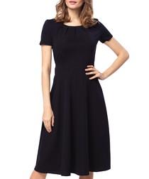 Black short-sleeve midi dress