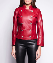 Suzan rouge leather military jacket