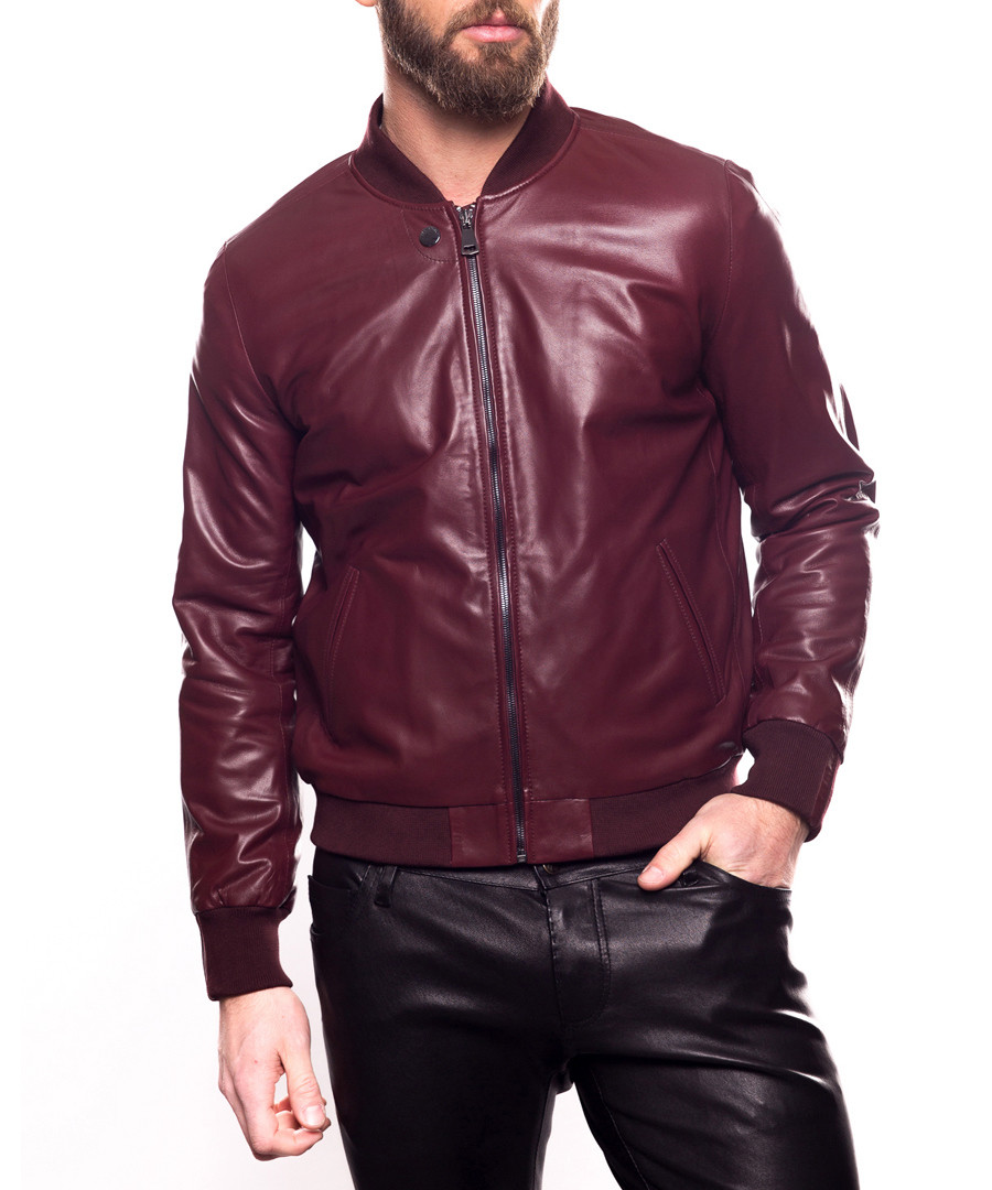 e79ff3aebe8 Ronaldo bordeaux leather bomber jacket Sale - giorgio and mario ...
