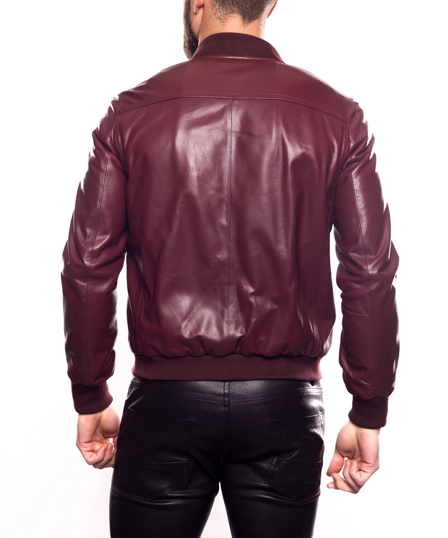 4c8a2a83493 ... Ronaldo bordeaux leather bomber jacket Sale - giorgio and mario