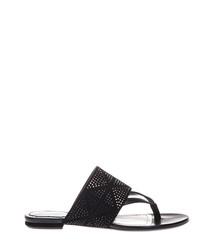 Black suede studded flip flops