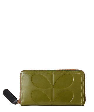973a358b4f903 Embossed Stem green leather purse Sale - Orla Kiely Sale