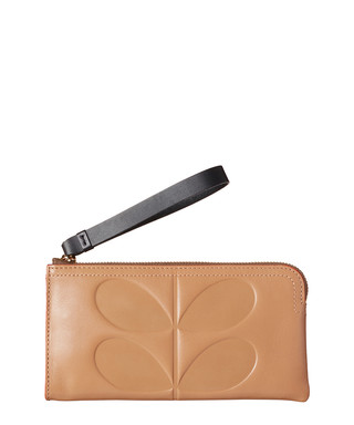 bdc168424a1c1 Embossed Stem fawn leather zip pouch Sale - Orla Kiely Sale