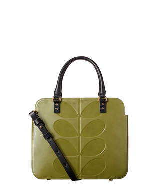 7dfa3132a8d1f Embossed Stem Jeanie olive leather bag Sale - Orla Kiely Sale