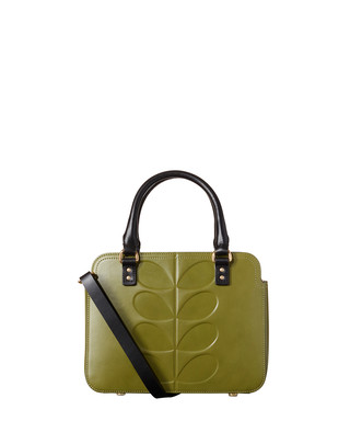 693ace4106214 Embossed Stem Jeanette olive leather bag Sale - Orla Kiely Sale