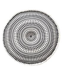 Medina black & white embroidered pouf